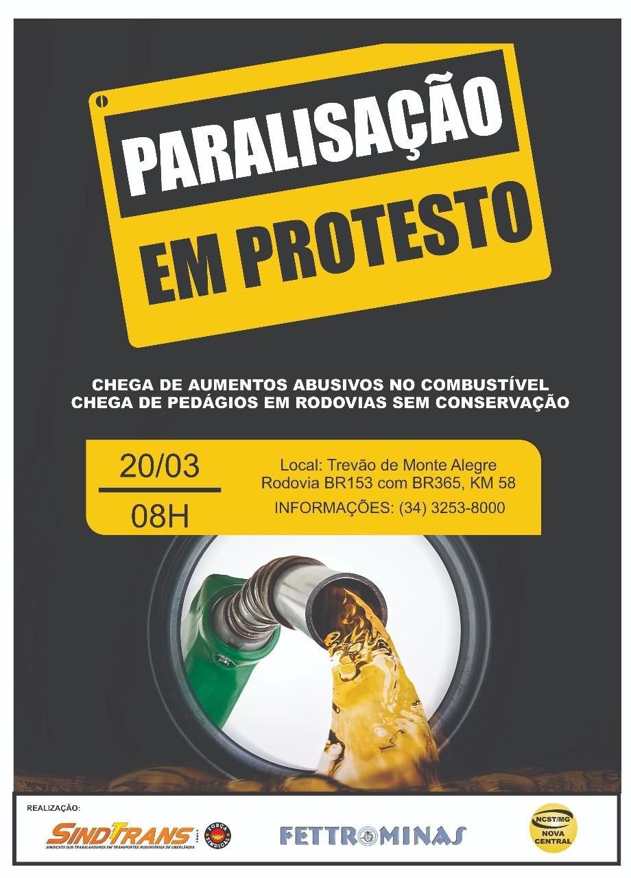 Protesto contra o aumento dos combustíveis e pedágios nas rodovias